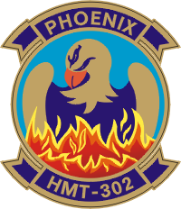 Coat of arms (crest) of the Marine Helicopter Training Squadron (HMT)-302 Phoenix, USMC