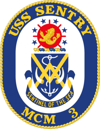 Coat of arms (crest) of the Mine Countermeasures Ship USS Sentry