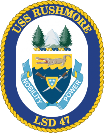 Coat of arms (crest) of the Dock Landing Ship USS Rushmore (LSD-47)