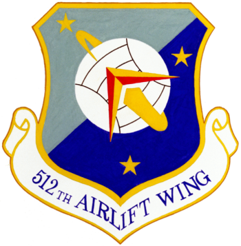Coat of arms (crest) of the 512th Airlift Wing, US Air Force