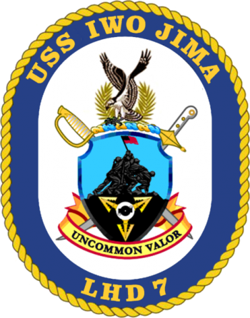 Coat of arms (crest) of the Landing Helicopter Dock USS Iwo Jima (LHD-7)