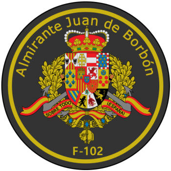 Coat of arms (crest) of the Frigate Almirante Juan de Borbón, Spanish Navy