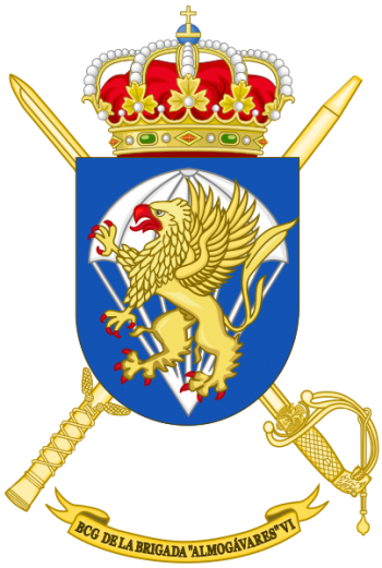 Coat of arms (crest) of the Brigade Almogávares VI of Parachutists Headquarters Battalion, Spanish Army