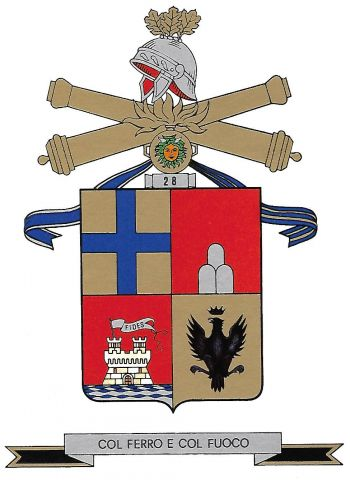 Coat of arms (crest) of the 28th Self-Propelled Field Artillery Group Livorno, Italian Army