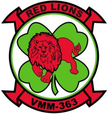 Coat of arms (crest) of the VMM-363 Red Lions, USMC