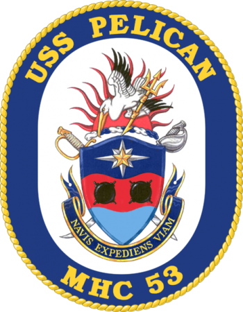 Coat of arms (crest) of the Mine Hunter USS Pelican (MHC-53)