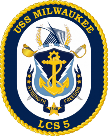 Coat of arms (crest) of the Littoral Combat Ship USS Milwaukee (LCS-5)