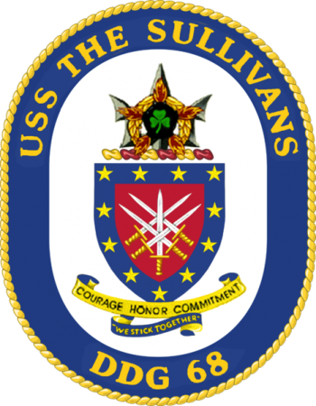 Coat of arms (crest) of the Destroyer USS The Sullivans