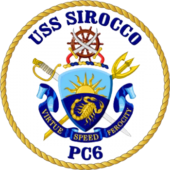 Coat of arms (crest) of the Coastal Patrol Ship USS Sirocco (PC-6)