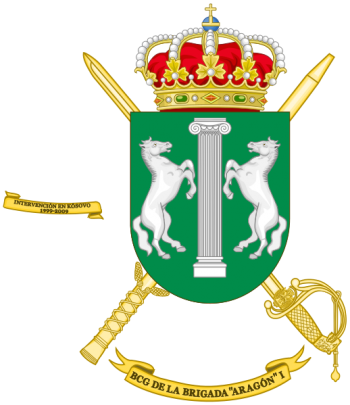 Coat of arms (crest) of the Brigade Aragón I Headquarters Battalion, Spanish Army