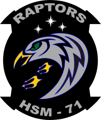 Coat of arms (crest) of the Helicopter Maritime Strike Squadron 71 (HSM-71) Raptors, US Navy