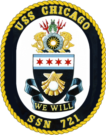 Coat of arms (crest) of the Submarine USS Chicago (SSN-721)