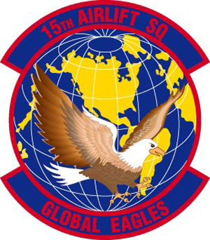 Coat of arms (crest) of the 15th Airlift Squadron, US Air Force