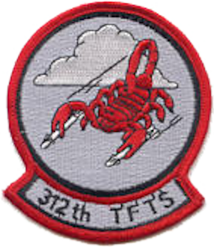 Coat of arms (crest) of the 312th Tactical Fighter Training Squadron, US Air Force