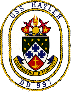 Coat of arms (crest) of the Destroyer USS Hayler (DD-997)