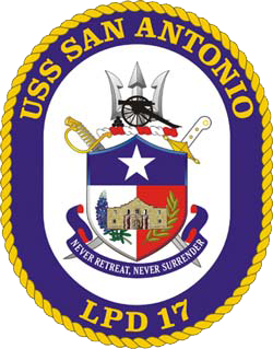 Coat of arms (crest) of the Ampibious Transport Dock USS San Antonio (LPD-17), US Navy