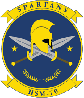 Coat of arms (crest) of the Helicopter Maritime Strike Squadron 70 (HSM-70) Spartans, US Navy