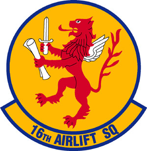 Coat of arms (crest) of the 16th Airlift Squadron, US Air Force