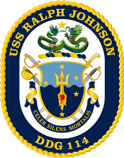 Coat of arms (crest) of the Destroyer USS Ralph Johnson (DDG-114)