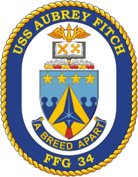 Coat of arms (crest) of the Frigate USS Aubrey Fitch (FFG-34)
