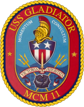 Coat of arms (crest) of the Mine Countermeasures Ship USS Gladiator