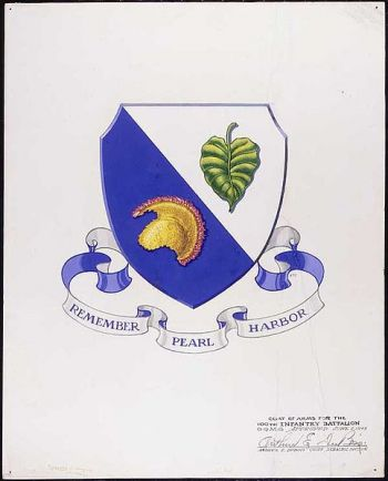 Coat of arms (crest) of the 100th Infantry Battalion, US Army