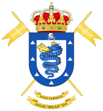Coat of arms (crest) of the Light Armoured Cavalry Group Milán XVI, Spanish Army