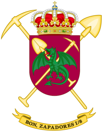 Coat of arms (crest) of the Sapper Battalion I-8, Spanish Army