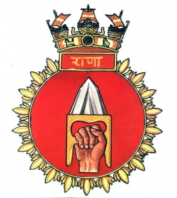 Coat of arms (crest) of the INS Rana, Indian Navy