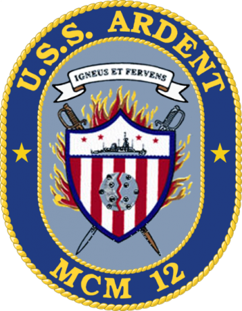 Coat of arms (crest) of the Mine Countermeasures Ship USS Ardent