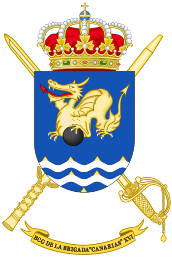 Coat of arms (crest) of the Brigade Canarias XVI Headquarters Battalion, Spanish Army