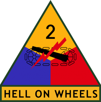 Coat of arms (crest) of the 2nd Armored Division Hell on Wheels, US Army