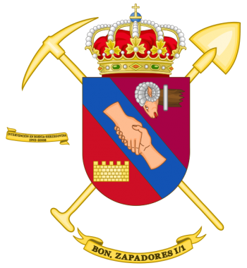 Coat of arms (crest) of the Sapper Battalion I-1, Spanish Army