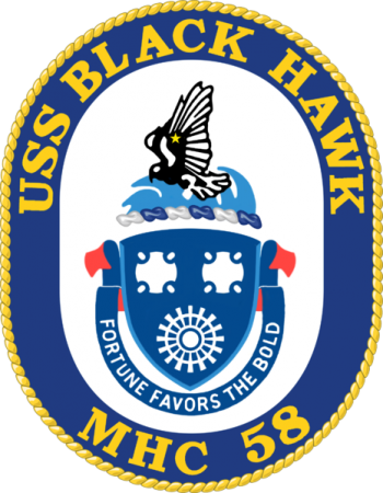 Coat of arms (crest) of the Mine Hunter USS Black Hawk (MHC-58)