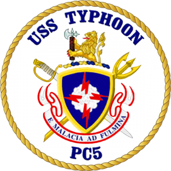 Coat of arms (crest) of the Coastal Patrol Ship USS Typhoon (PC-5)