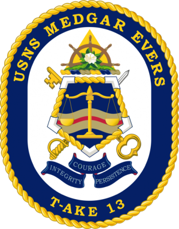 Coat of arms (crest) of the Dry Cargo Ship USNS Medgar Evers (T-AKE-13)