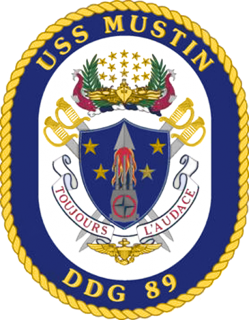 Coat of arms (crest) of the Destroyer USS Mustin
