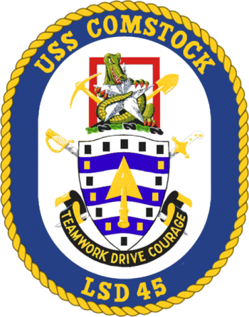 Coat of arms (crest) of the Dock Landing Ship USS Comstock (LSD-45)