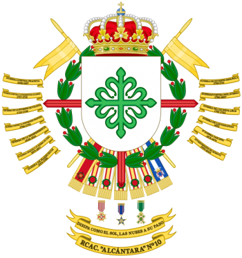Coat of arms (crest) of the Light Armoured Cavalry Regiment Alcántara No 10, Spanish Army