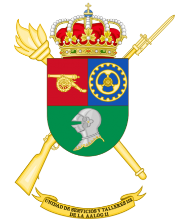 Coat of arms (crest) of the Logistics Services and Mechanical Workshops Unit 112, Spanish Army