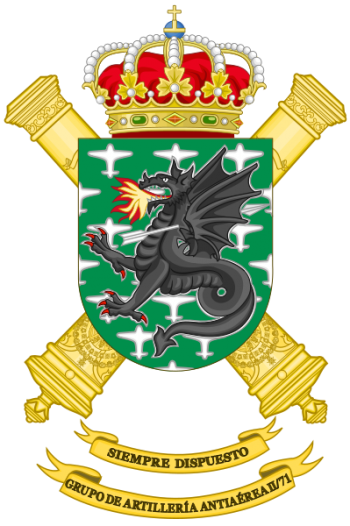Coat of arms (crest) of the Air Defence Artillery Group II-71, Spanish Army