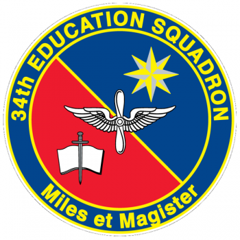 Coat of arms (crest) of the 34th Education Squadron, US Air Force
