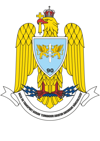 Coat of arms (crest) of the 90th Transport Air Base Commander Aviator Gheorghe Bǎnciulescu, Romanian Air Force