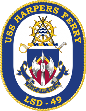 Coat of arms (crest) of the Dock Landing Ship USS Harpers Ferry (LSD-49)