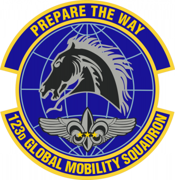 Coat of arms (crest) of the 123rd Global Mobility Squadron, Kentucky Air National Guard