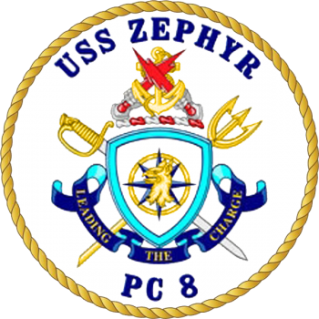 Coat of arms (crest) of the Coastal Patrol Ship USS Zephyr (PC-8)