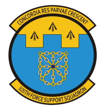 Coat of arms (crest) of the 926th Forces Support Squadron, US Air Force