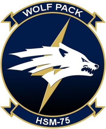 Coat of arms (crest) of the Helicopter Maritime Strike Squadron 75 (HSM-75) Wolfpack, US Navy
