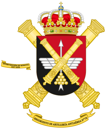 Coat of arms (crest) of the 72nd Air Defence Artillery Regiment, Spanish Army