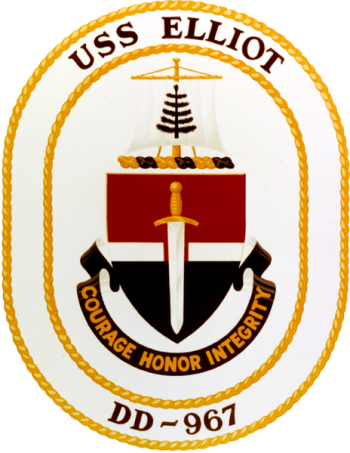 Coat of arms (crest) of the Destroyer USS Elliot (DD-967)